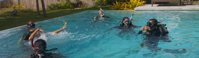 Atmosphere's IDC candidates during a PADI Rescue Course session in the Atmosphere pool