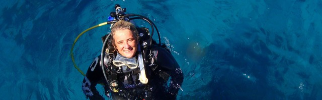 PADI Course Director Gabrielle Holder at Apo Island