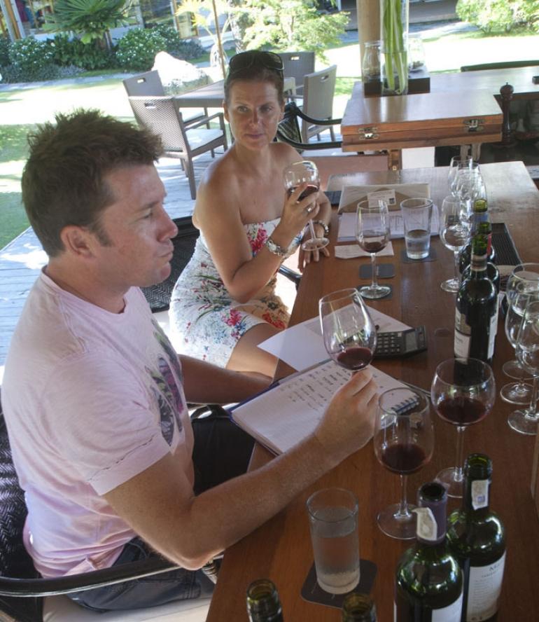 Matt and Rae hard at work, tasting the new wines...