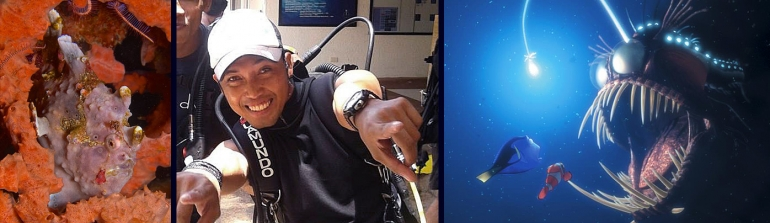 Divemaster Richard, between his favorite frogfish and the scarier Finding Nemo version