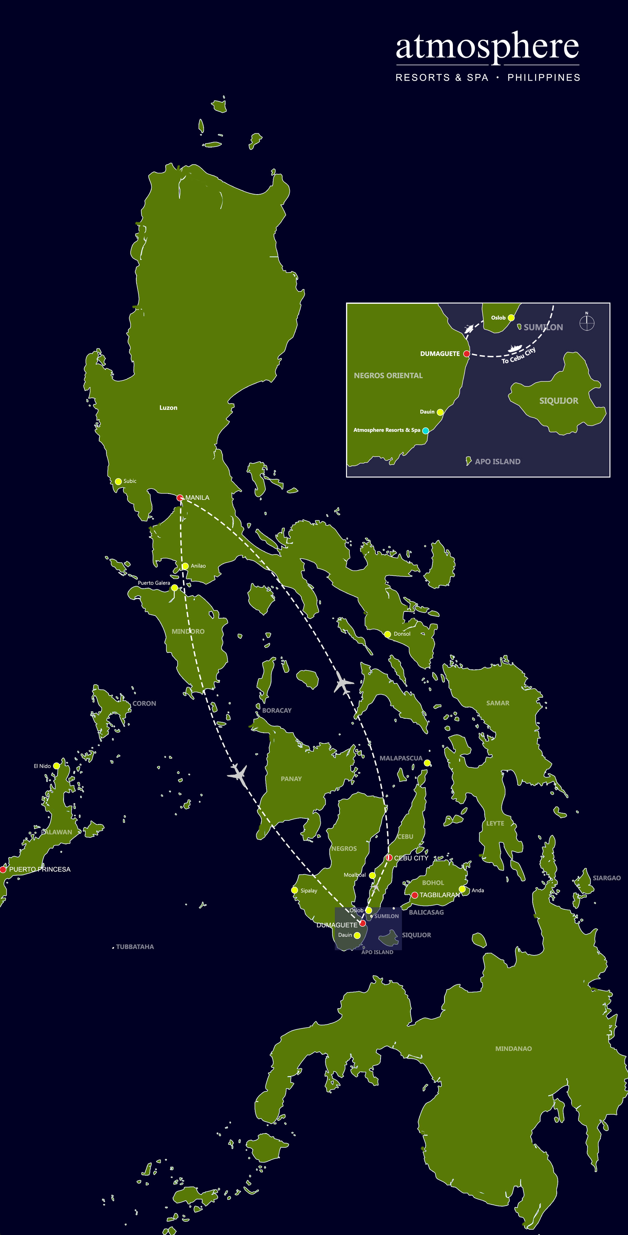 Philippines map with flights