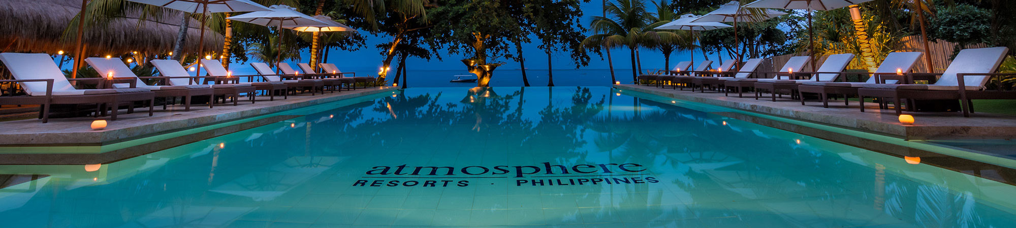 Atmosphere. The infinity pool at Atmosphere Resorts & Spa overlooks the Philippine sea near Dumaguete in Negros Oriental