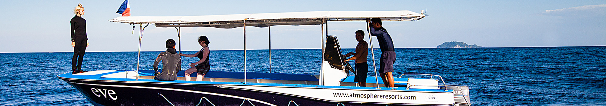 Atmosphere's fast speed boat Eve will quickly take you to all the Dauin dive sites whereas the big banka Victoria is mostly used for day trips or longer trips to nearby islands in the Philippines.