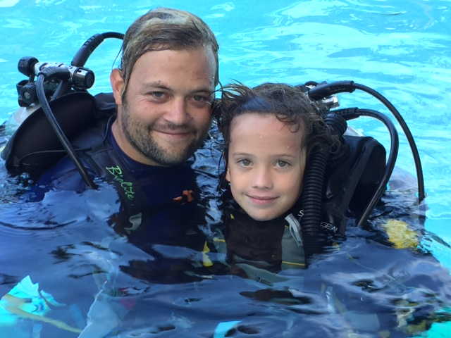 PADI Seal team and Bubblemaker. Kids scuba dive at Atmosphere Resort in the Philippines