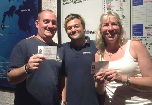 Daniel Geary's first two PADI Frogfish Specialist Course students: Ruth Fyfe and Duncan Perry