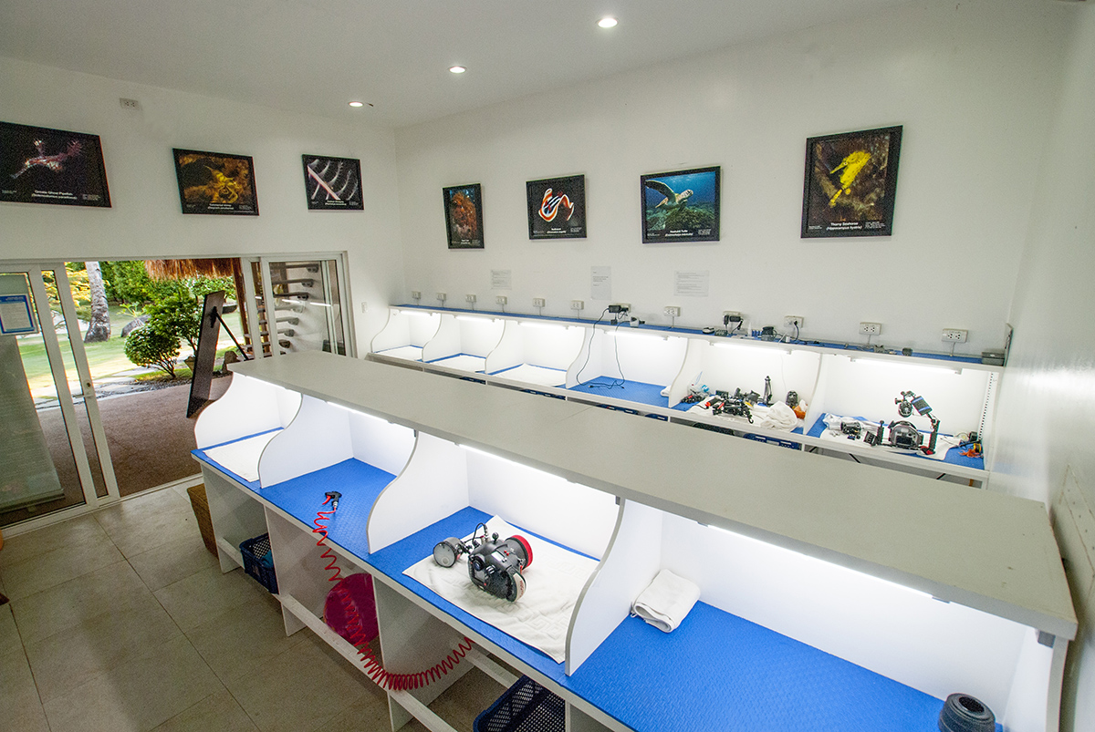The camera room at Atmosphere resort for underwater photographers