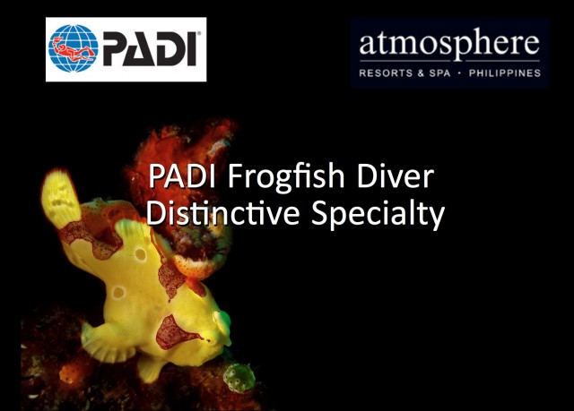 PADI Frogfish Specialist distinctive course at Atmosphere Resort Philippines