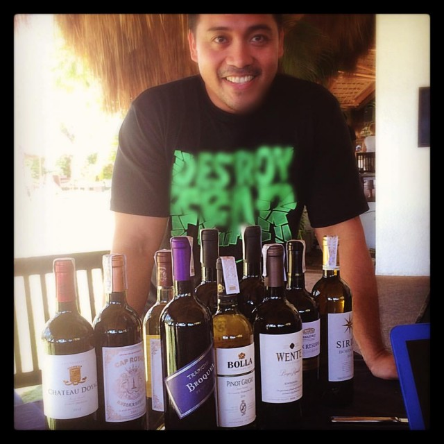 Wines at Atmosphere in the Philippines with head chef Denver Wickenhauser