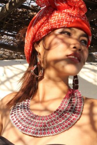 Recycled fashion! Necklace made from can tabs and recycled fabric from Lumago designs Dumaguete Philippines