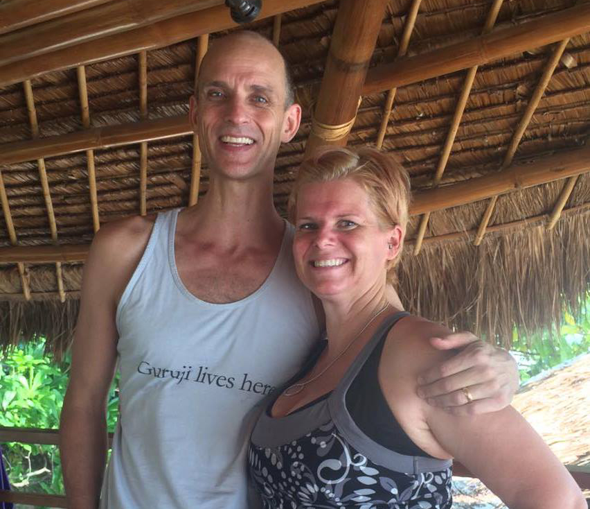 Tim Feldmann with Atmosphere's yoga teacher Rae Collins in Atmosphere Resort Philippines