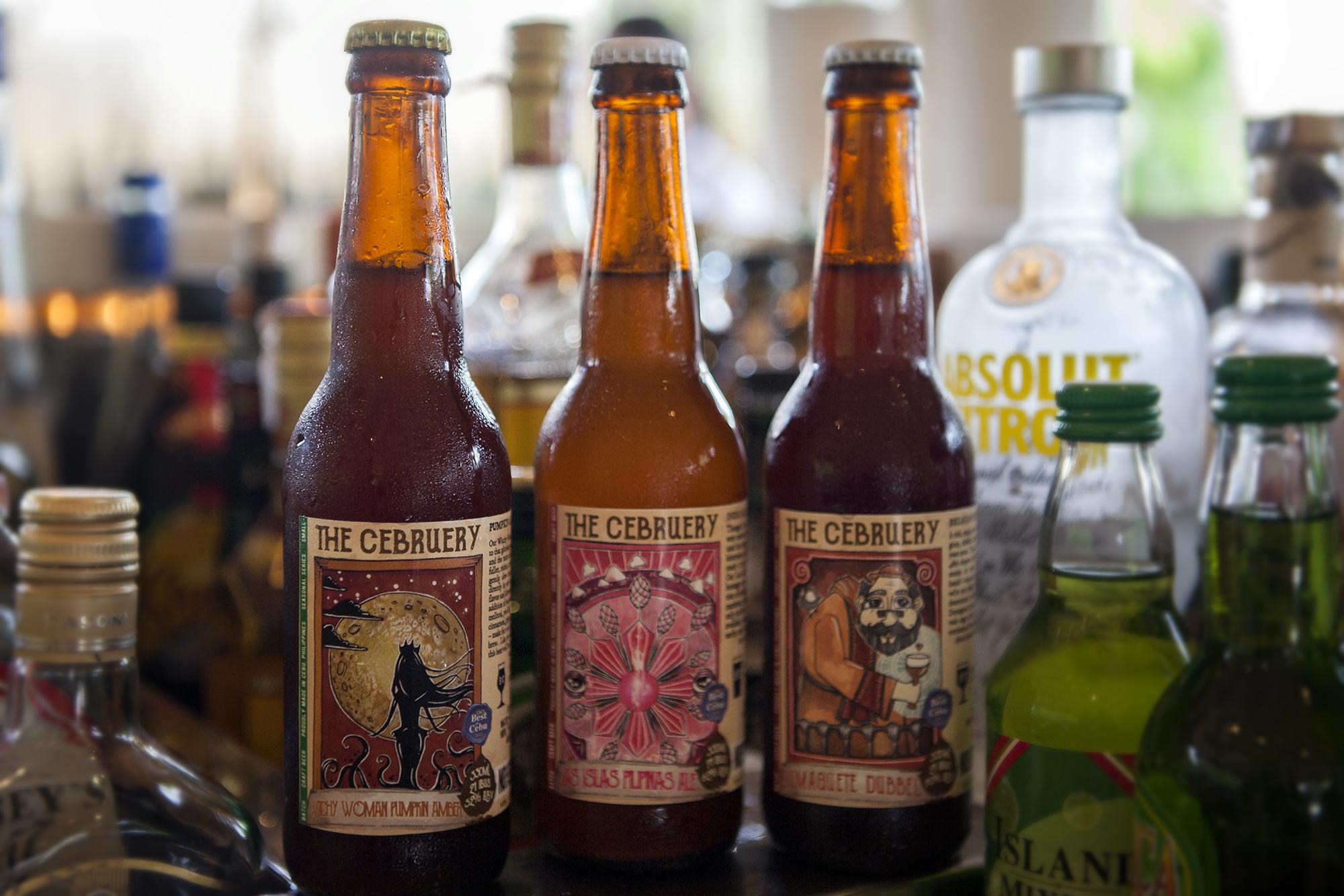 Artisanal micro brewery beers from the Cebruery in Cebu, served at Atmosphere Resort