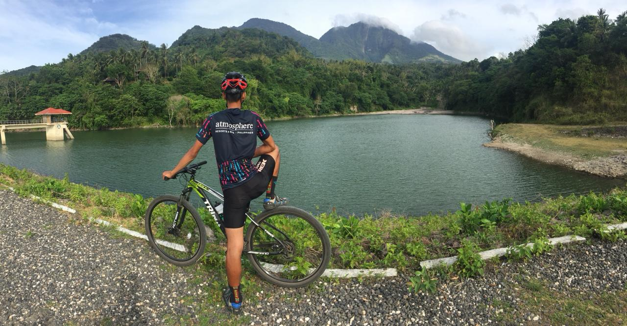 At the dam - mountain biking with Atmosphere Resort, Dumaguete Philippines
