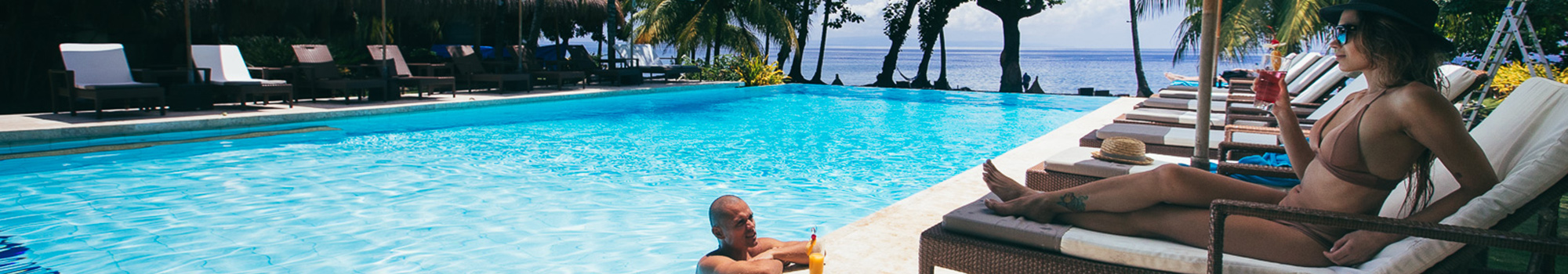 Lounging by the pools at Atmosphere Resort Philippines