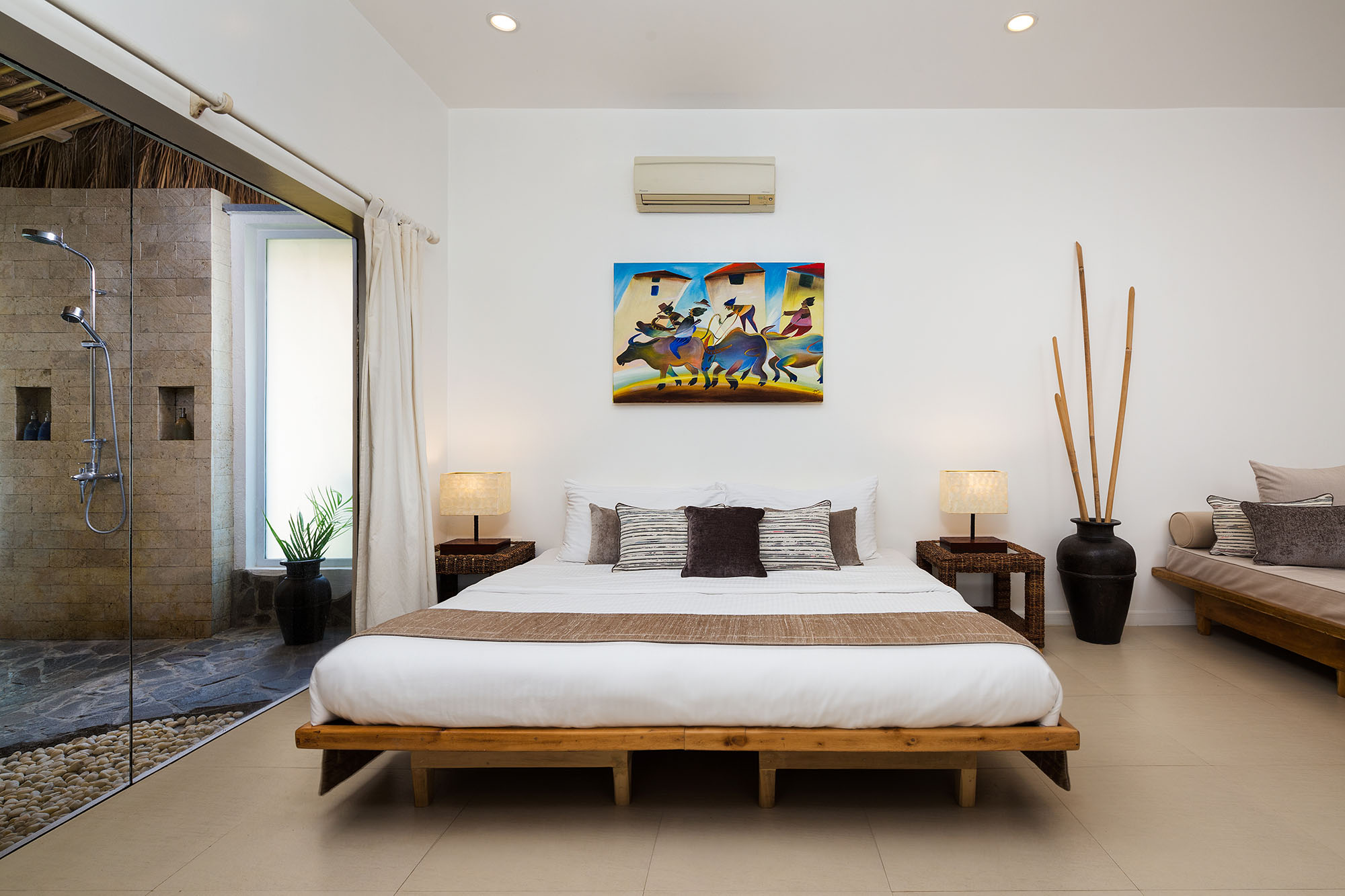 The bedroom of the Garden Apartment luxury accommodation at Atmosphere Resorts & Spa Philippines
