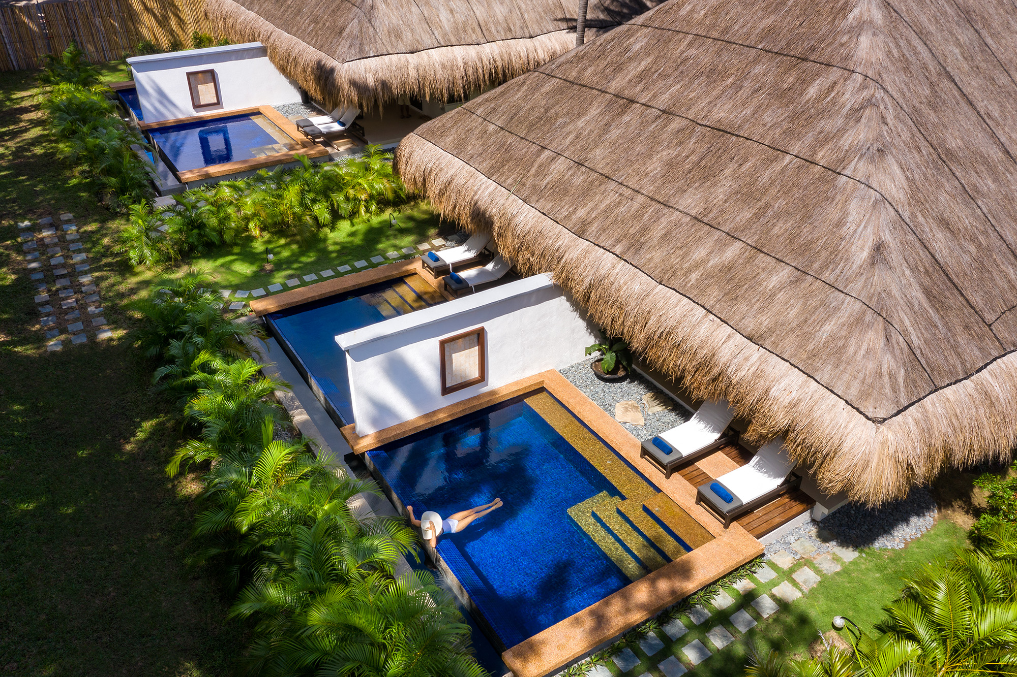Aerial view of the private pool in a Premium Pool Suite at Atmosphere Resorts & Spa Philippines