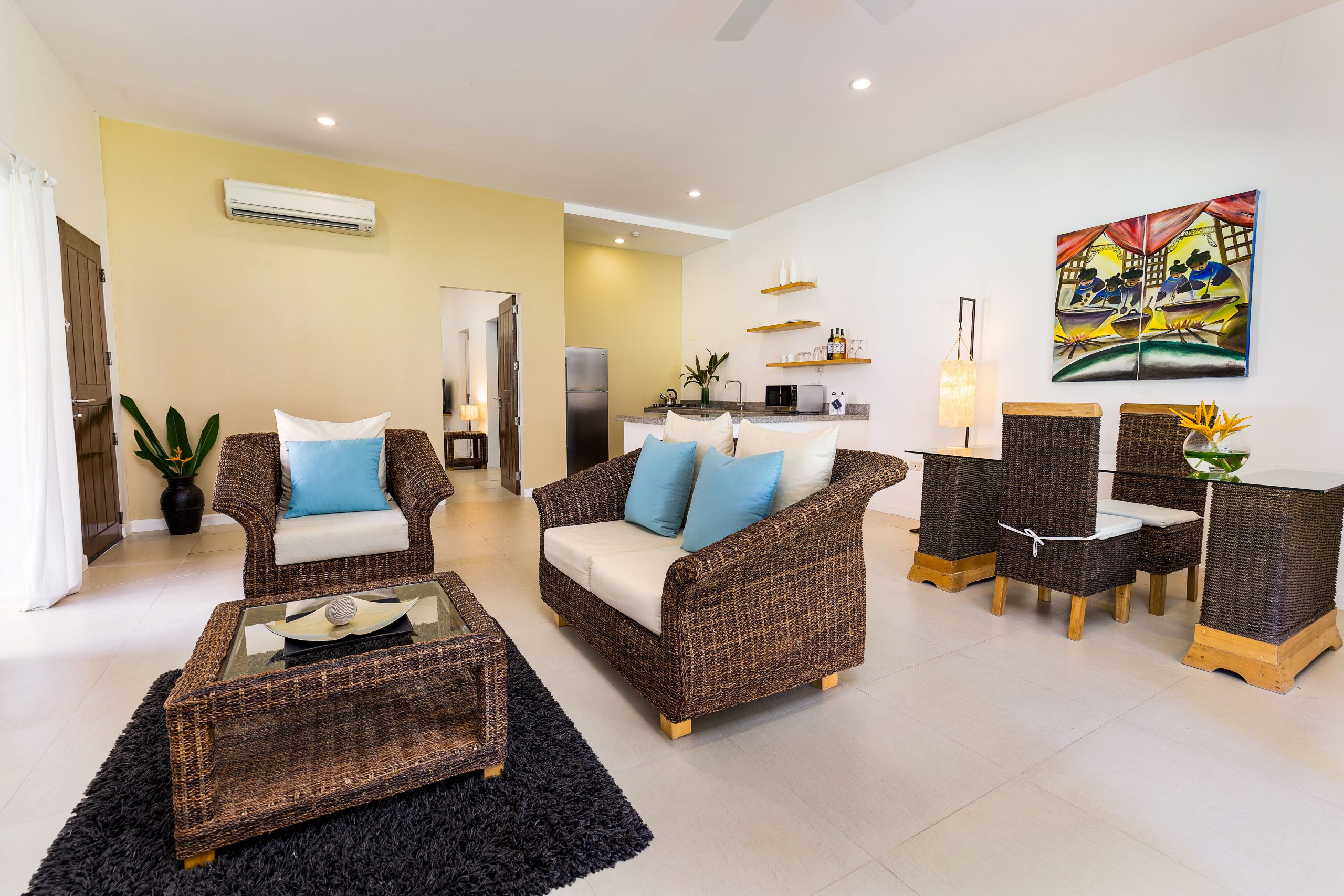 Garden Apartment living room at Atmosphere Resorts & Spa Residences Philippines