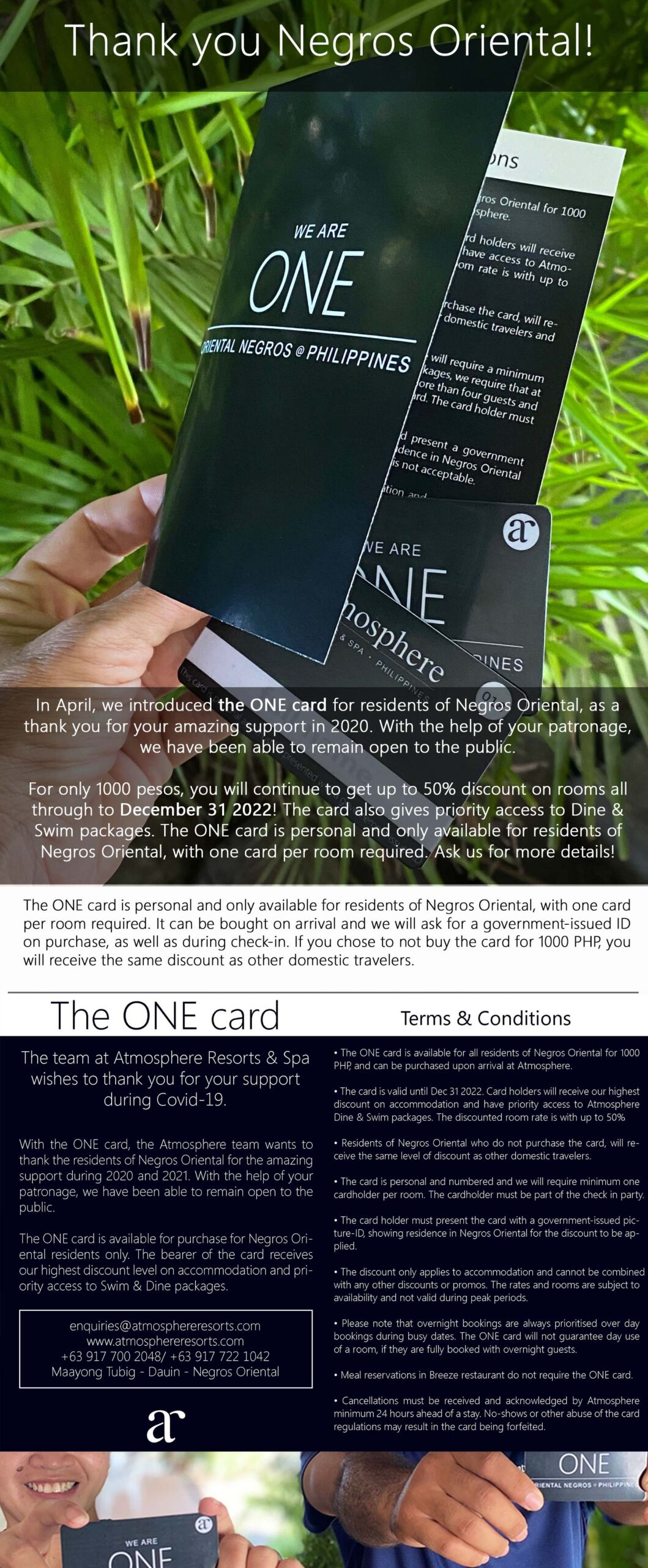 The ONE card for residents of Negros Oriental gives great benefits at Atmosphere